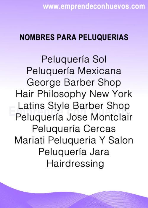 Nombres para peluquerías