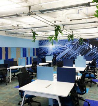oficinas en tonos azules