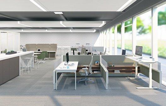 oficinas en tonos blancos